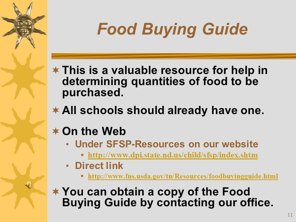 Food Buying Guide This is a valuable resource for help in determining quantities of food to be purchased.
