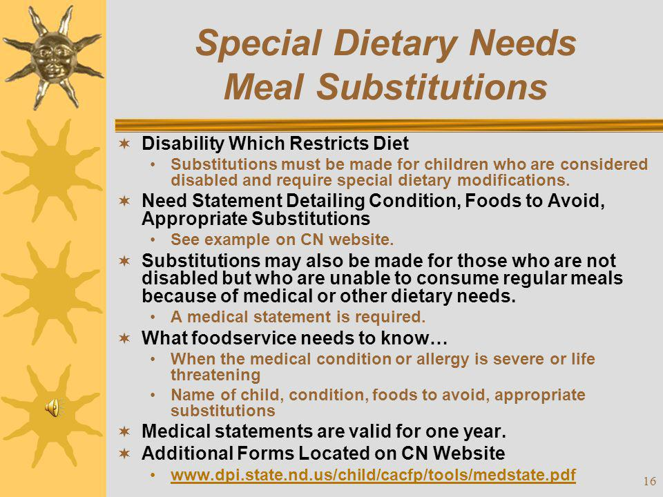 Special Dietary Needs Meal Substitutions