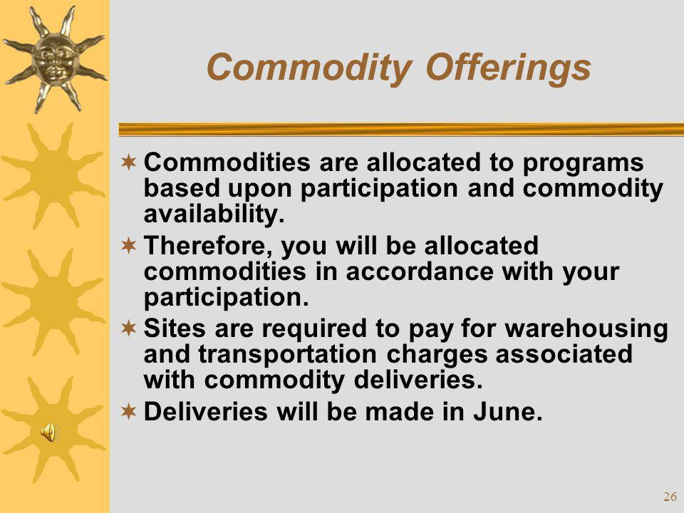 Commodity Offerings Commodities are allocated to programs based upon participation and commodity availability.