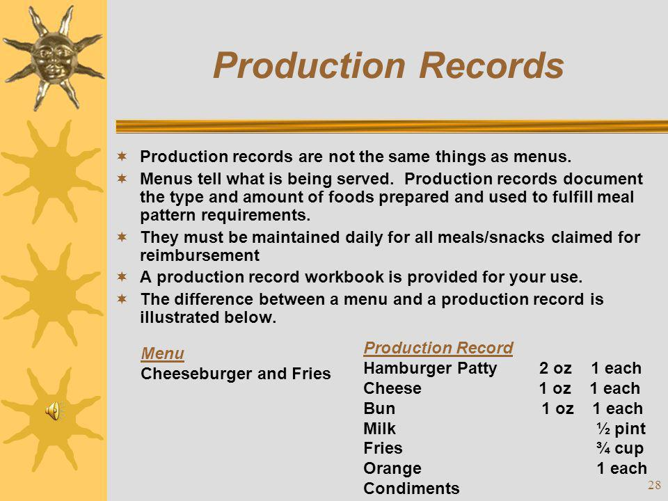 Production Records Production records are not the same things as menus.
