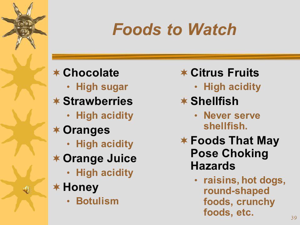 Foods to Watch Chocolate Strawberries Oranges Orange Juice Honey