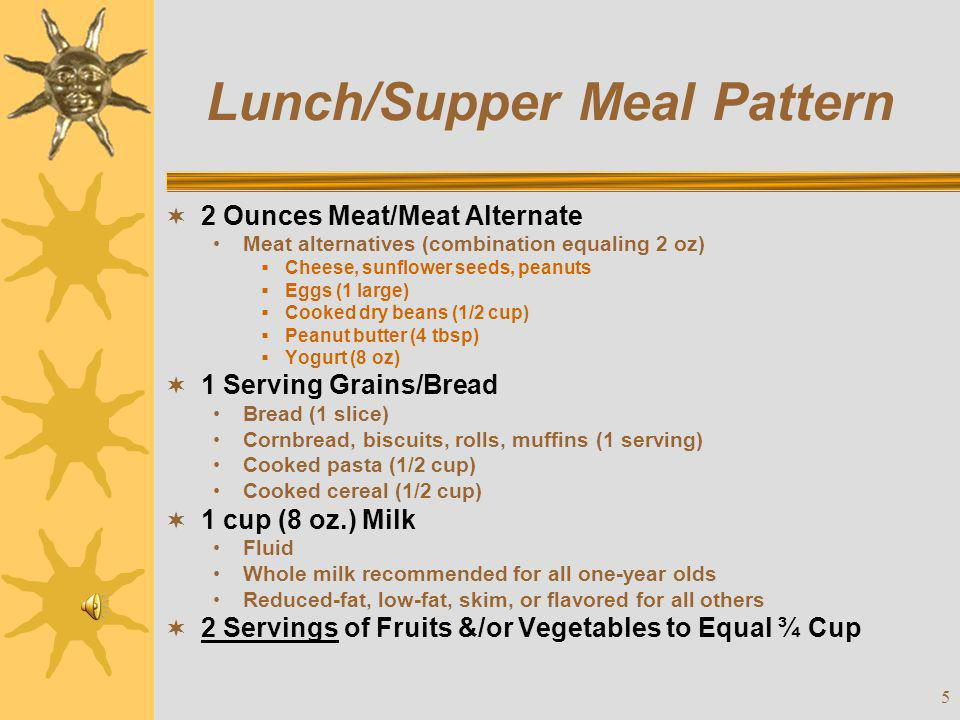 Lunch/Supper Meal Pattern