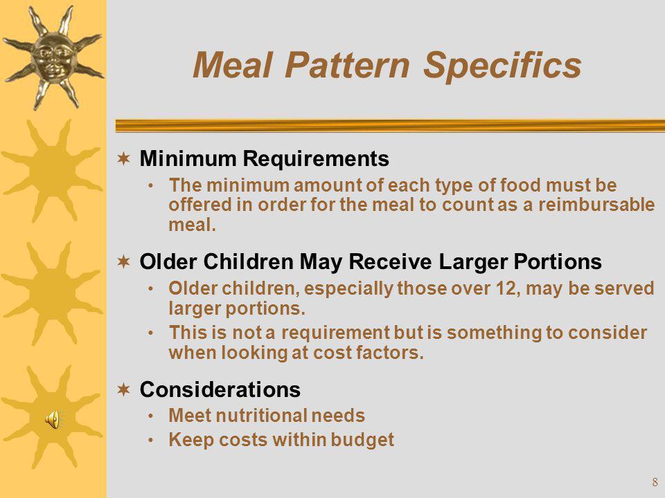 Meal Pattern Specifics