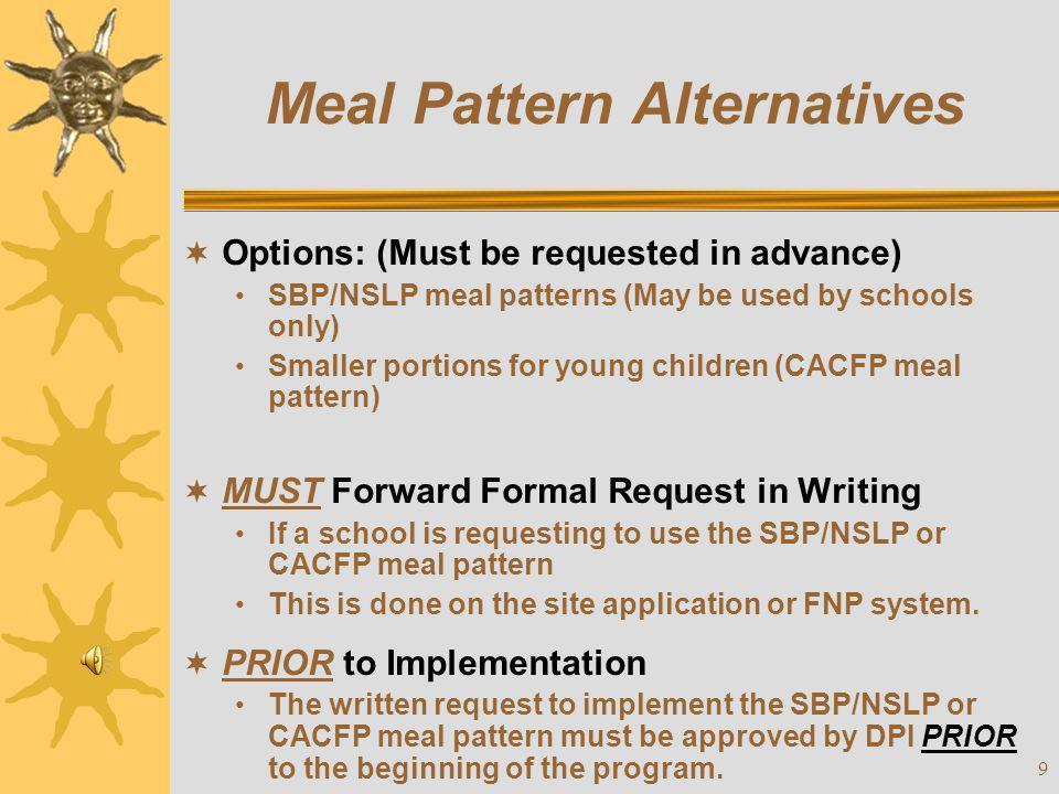 Meal Pattern Alternatives