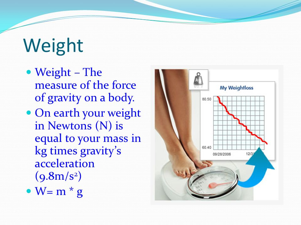Weight Weight – The measure of the force of gravity on a body.