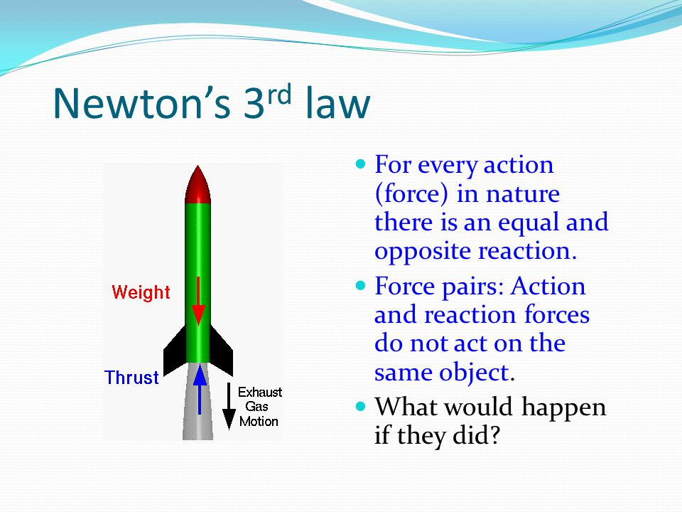 Newton's 3rd law For every action (force) in nature there is an equal and opposite reaction.