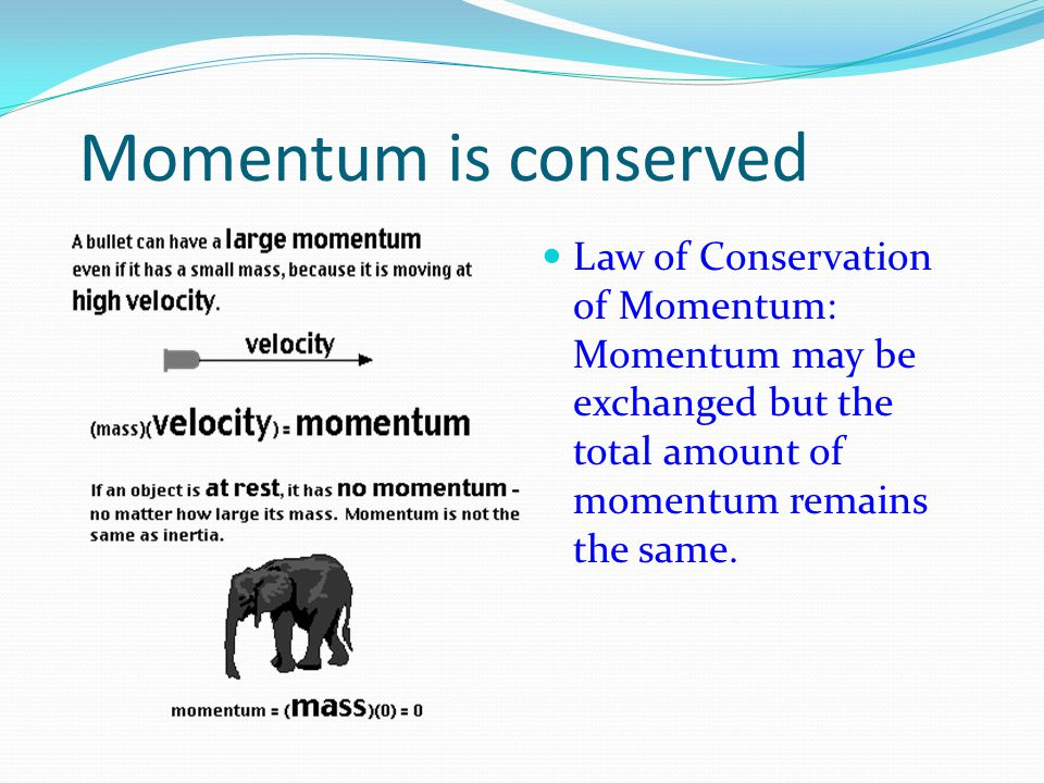 Momentum is conserved Law of Conservation of Momentum: Momentum may be exchanged but the total amount of momentum remains the same.