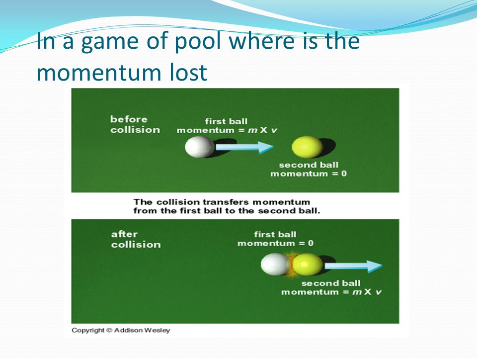 In a game of pool where is the momentum lost