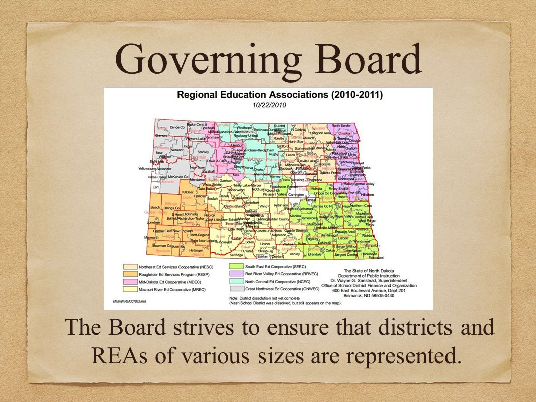 Governing Board The Board strives to ensure that districts and REAs of various sizes are represented.