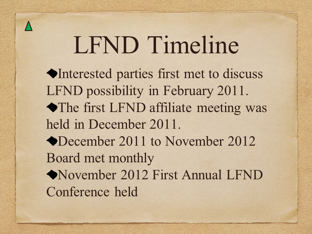 LFND Timeline Interested parties first met to discuss LFND possibility in February 2011. The first LFND affiliate meeting was held in December 2011.