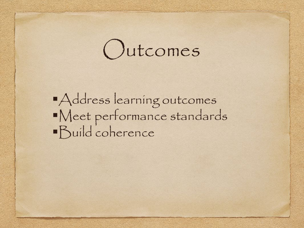 Address learning outcomes Meet performance standards Build coherence