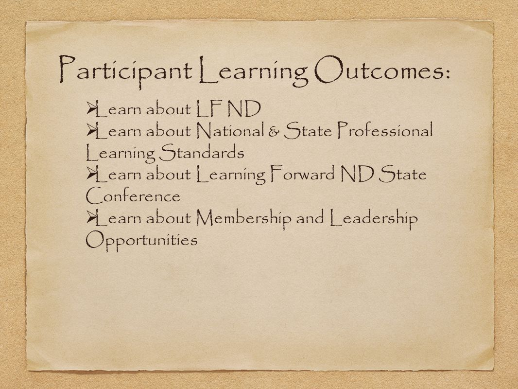 Participant Learning Outcomes: