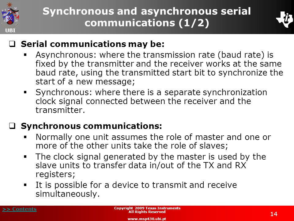 Synchronous and asynchronous serial communications (1/2)