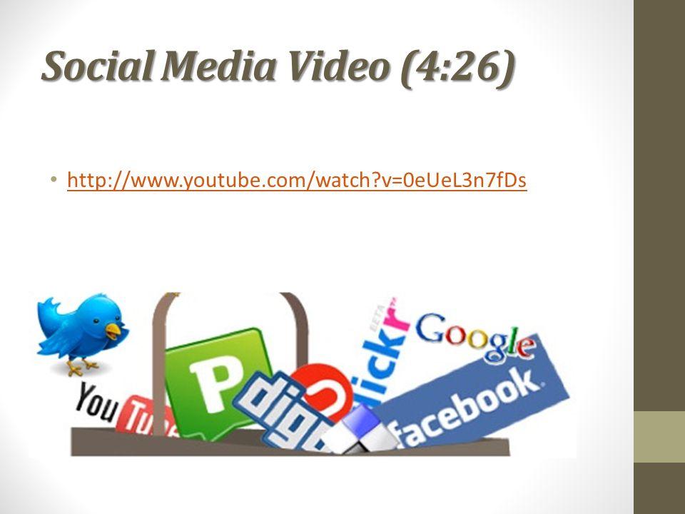 Social Media Video (4:26) http://www.youtube.com/watch v=0eUeL3n7fDs
