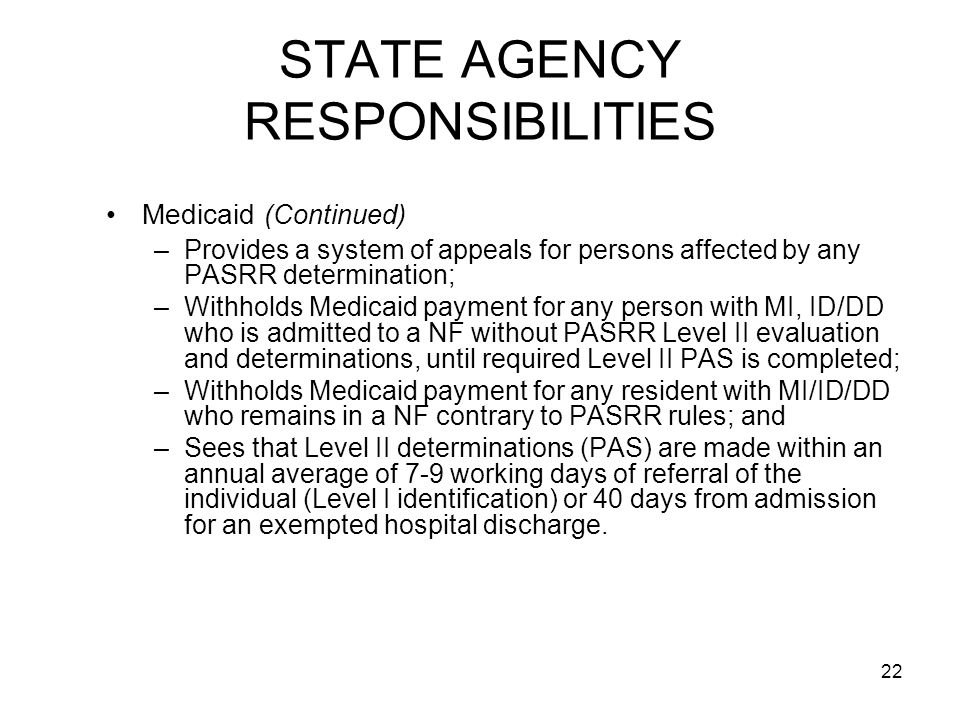 STATE AGENCY RESPONSIBILITIES