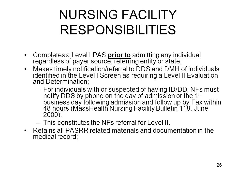 NURSING FACILITY RESPONSIBILITIES
