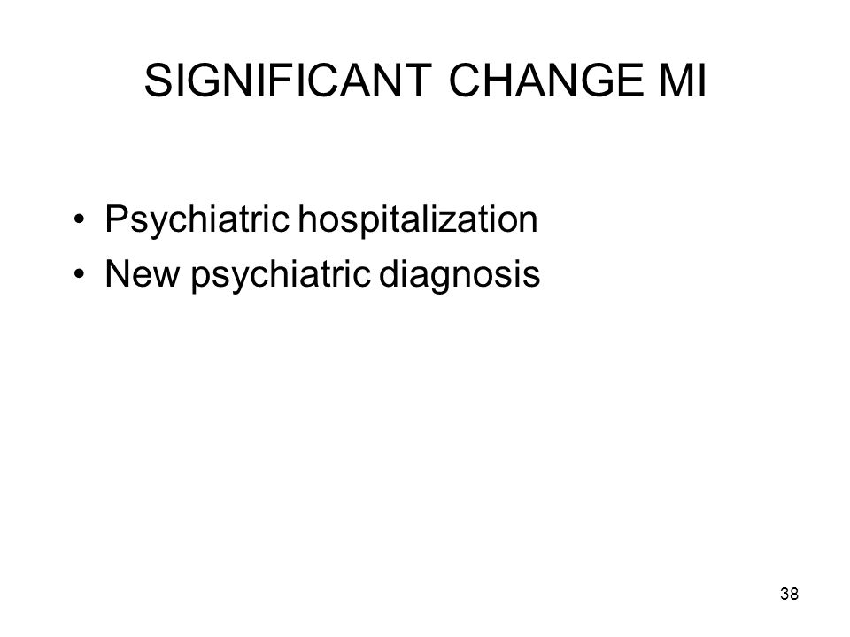 SIGNIFICANT CHANGE MI Psychiatric hospitalization