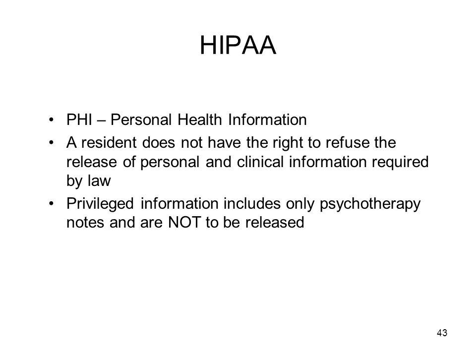 HIPAA PHI – Personal Health Information