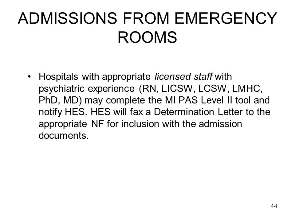 ADMISSIONS FROM EMERGENCY ROOMS