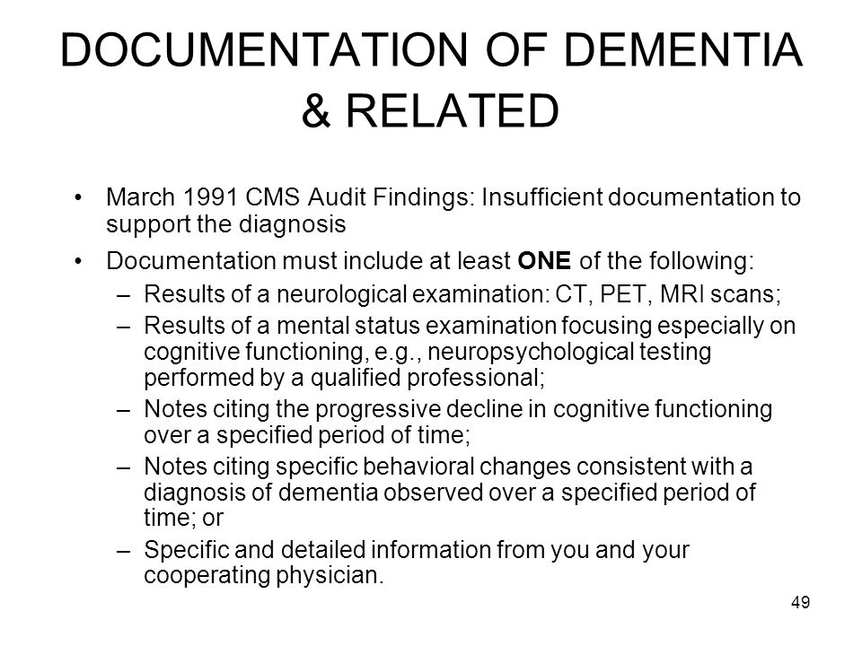 DOCUMENTATION OF DEMENTIA & RELATED