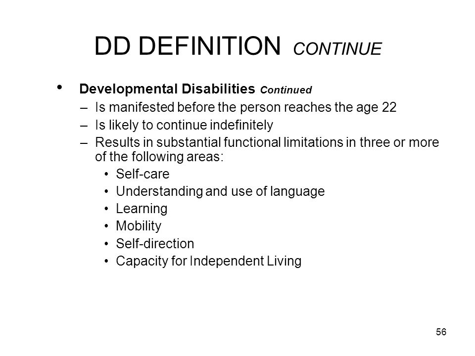 DD DEFINITION CONTINUE