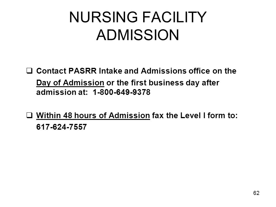 NURSING FACILITY ADMISSION