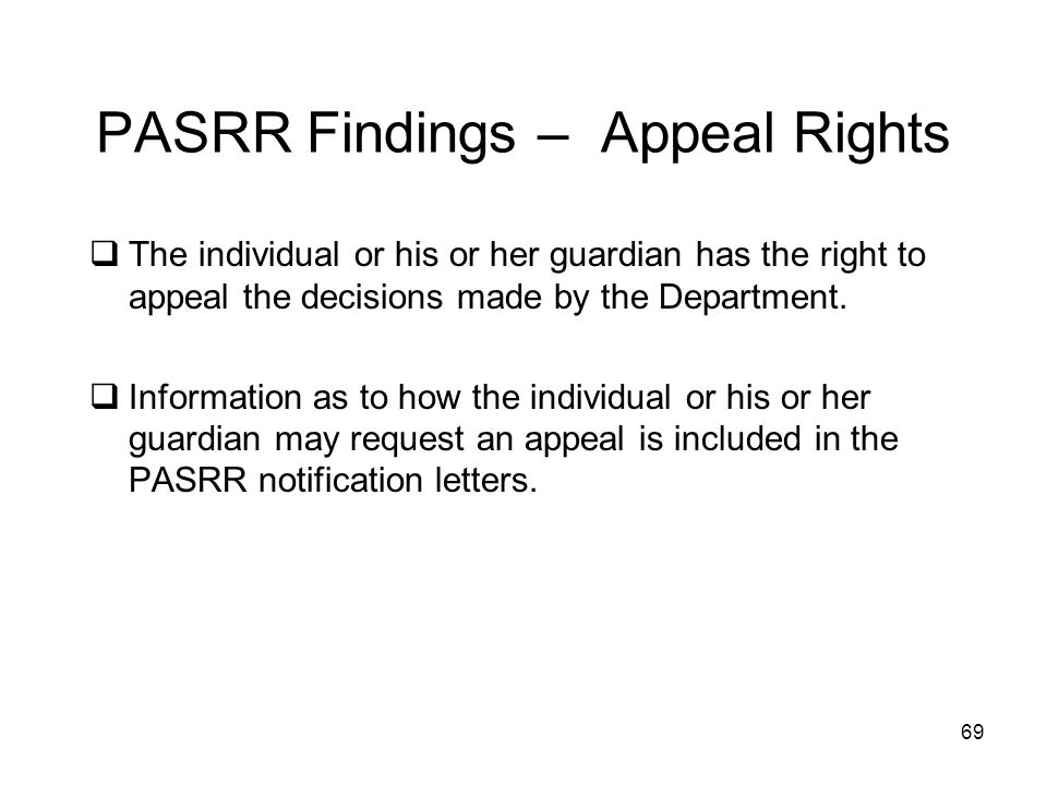 PASRR Findings – Appeal Rights