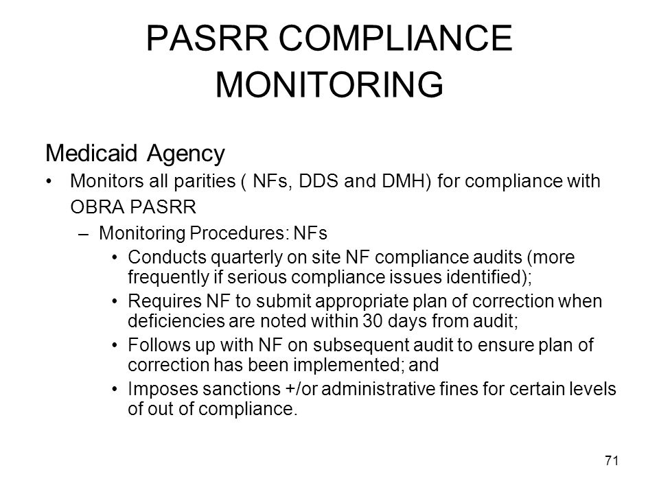 PASRR COMPLIANCE MONITORING