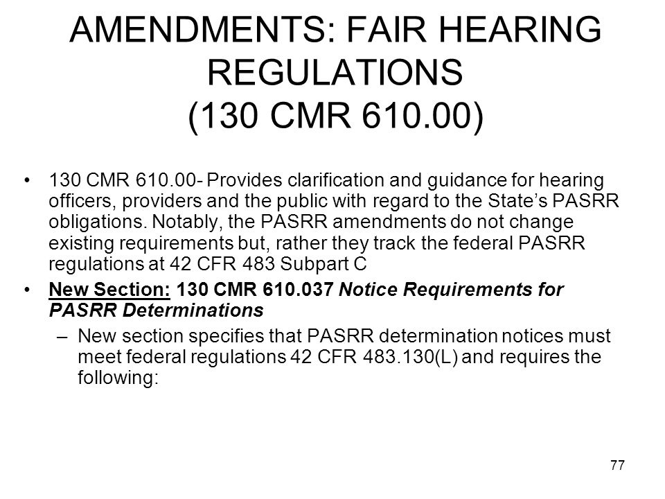 AMENDMENTS: FAIR HEARING REGULATIONS (130 CMR 610.00)