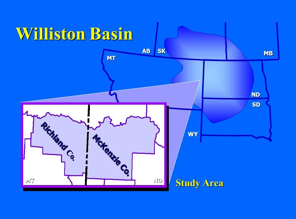 Williston Basin Study Area Richland Co. McKenzie Co. AB SK MB MT ND SD