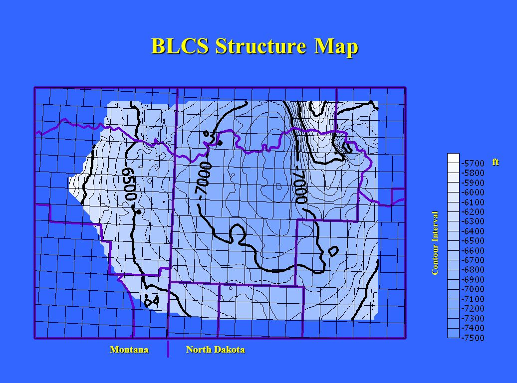 BLCS Structure Map ft Montana North Dakota Contour Interval