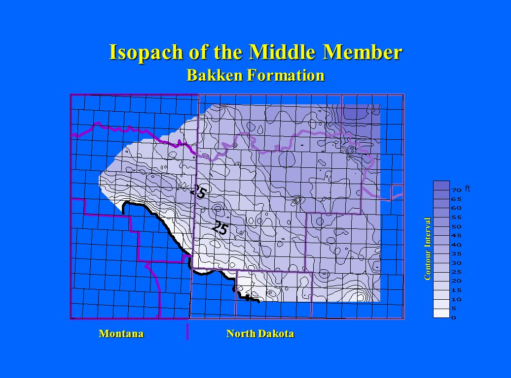 Isopach of the Middle Member Bakken Formation