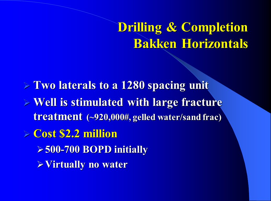 Drilling & Completion Bakken Horizontals