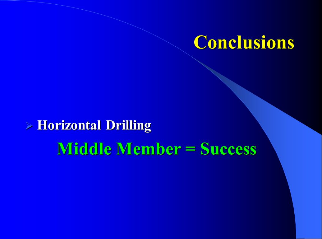 Conclusions Horizontal Drilling Middle Member = Success Conclusions