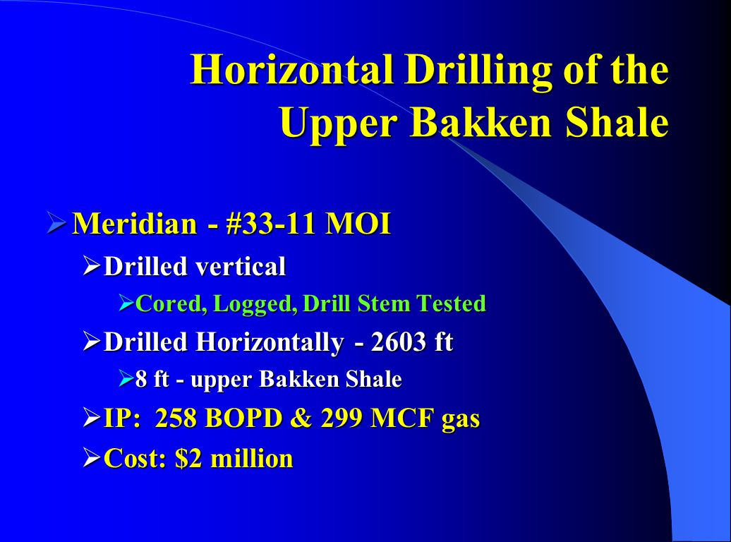 Horizontal Drilling of the Upper Bakken Shale