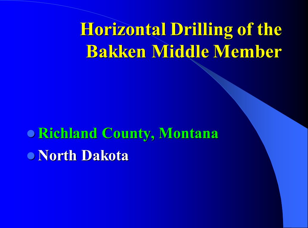 Horizontal Drilling of the Bakken Middle Member