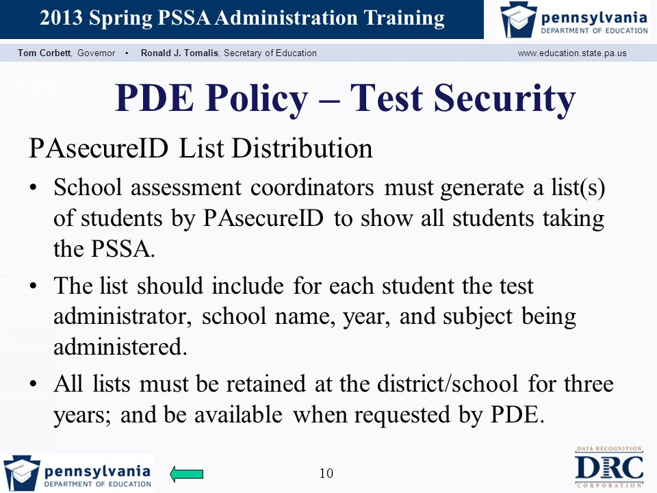 PDE Policy – Test Security