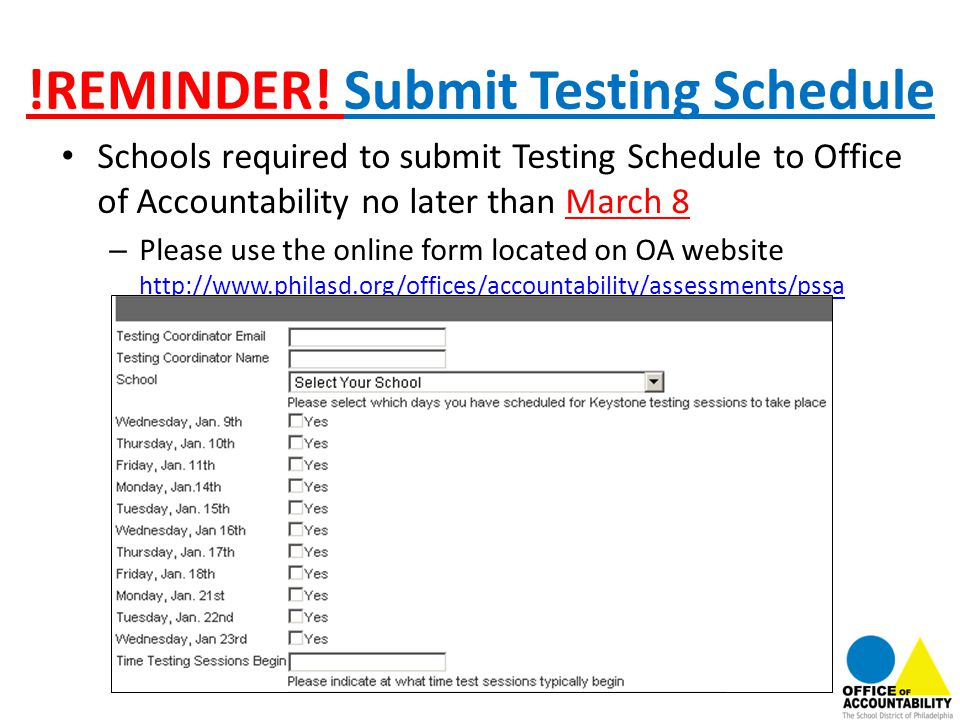 !REMINDER! Submit Testing Schedule