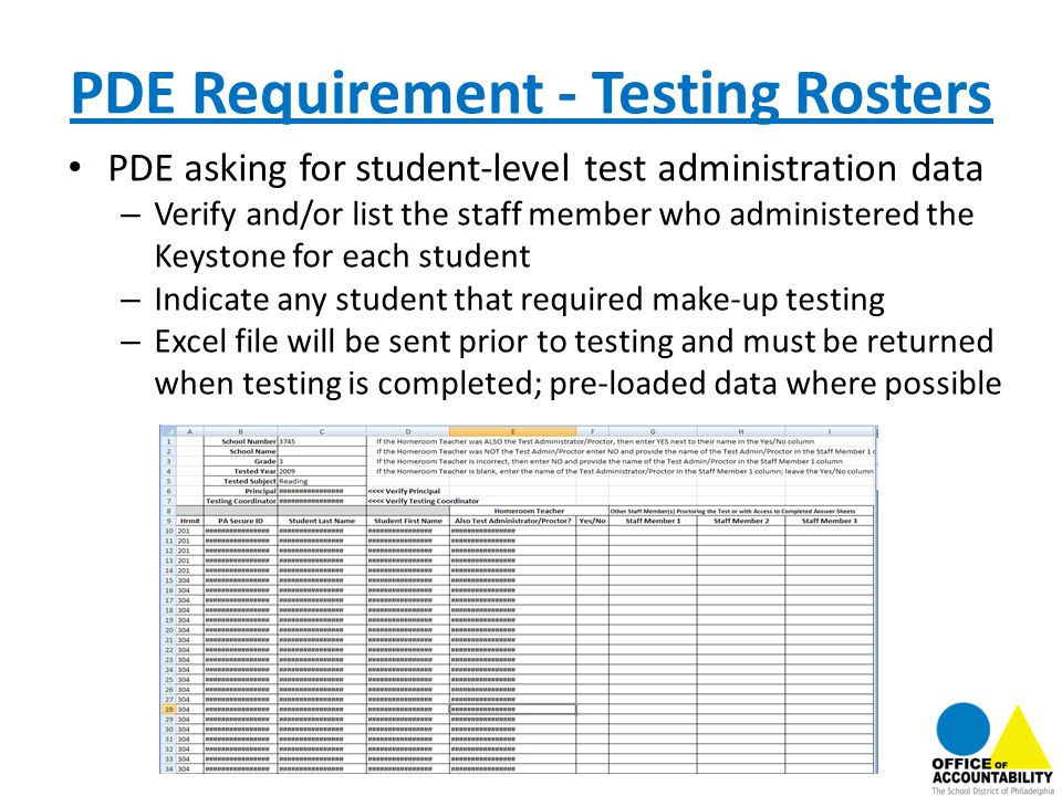 PDE Requirement - Testing Rosters