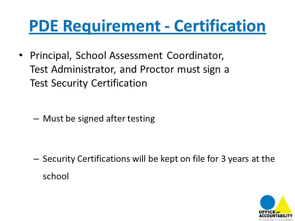 PDE Requirement - Certification