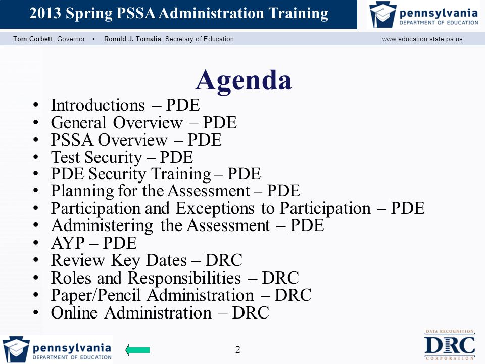 Agenda Introductions – PDE General Overview – PDE PSSA Overview – PDE