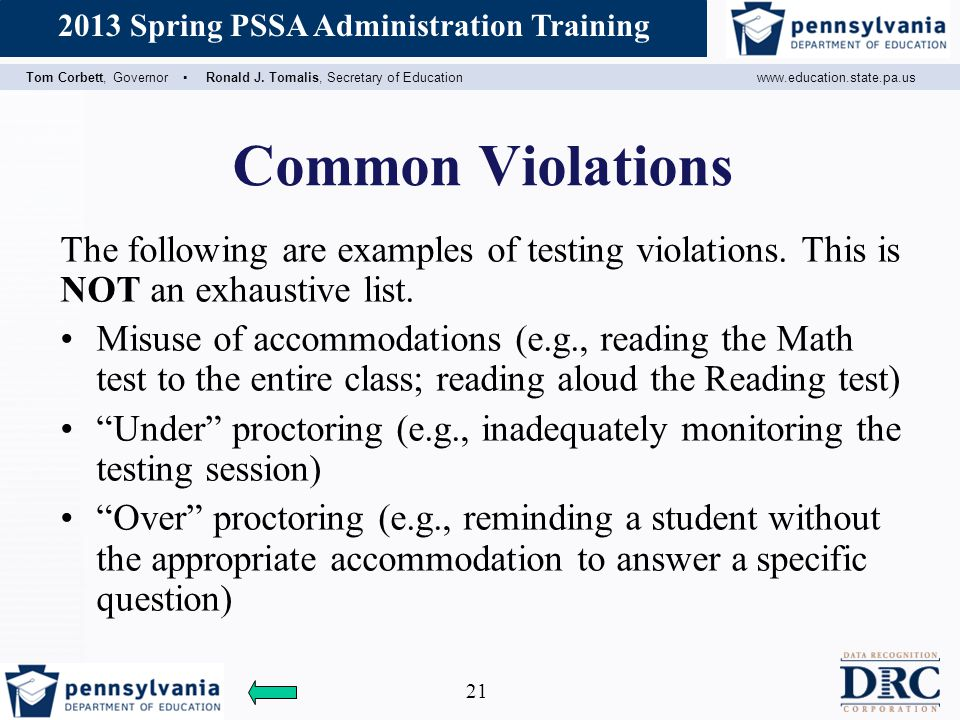 Common Violations The following are examples of testing violations. This is NOT an exhaustive list.