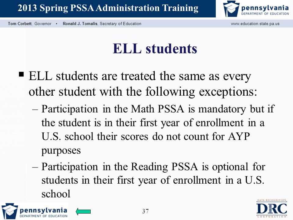 ELL students ELL students are treated the same as every other student with the following exceptions: