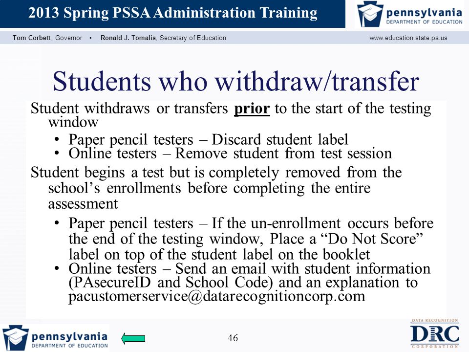 Students who withdraw/transfer