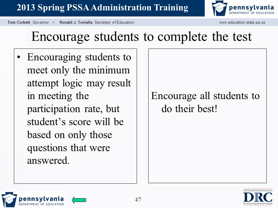 Encourage students to complete the test