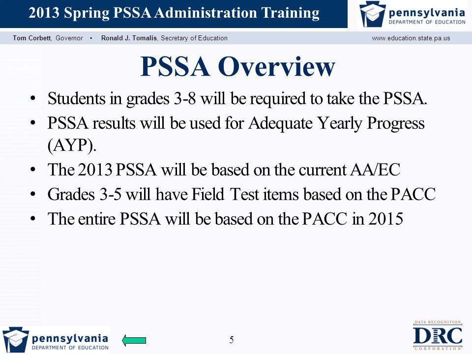 PSSA Overview Students in grades 3-8 will be required to take the PSSA. PSSA results will be used for Adequate Yearly Progress (AYP).