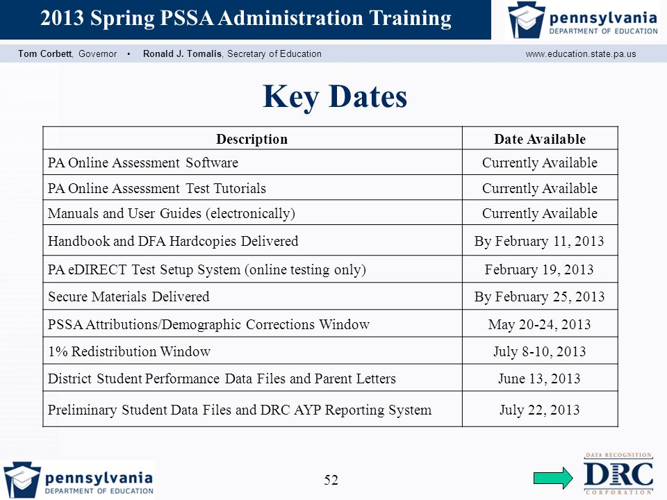 Key Dates Description Date Available PA Online Assessment Software