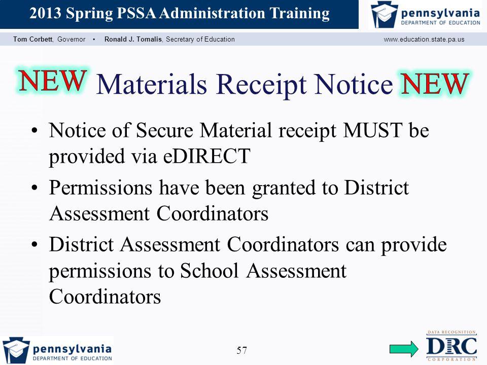 Materials Receipt Notice