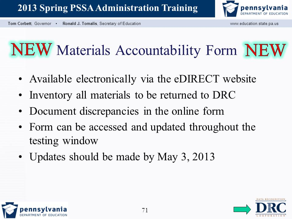 Materials Accountability Form
