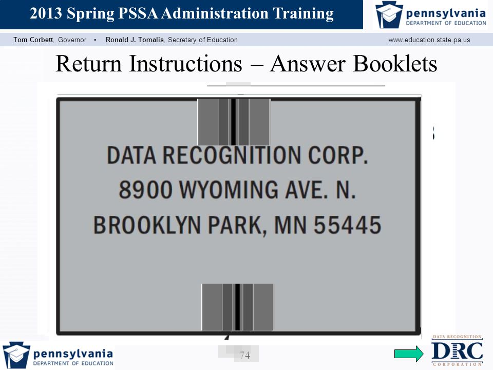 Return Instructions – Answer Booklets